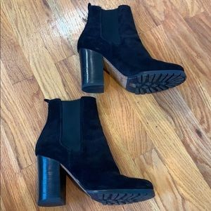 Coach black suede high heel Chelsea ankle boots